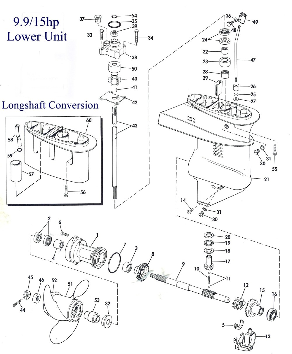 medium resolution of exploded view of the lower unit
