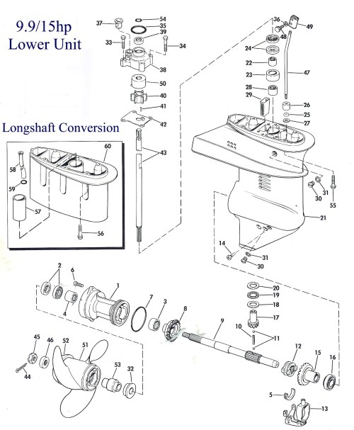 small resolution of exploded view of the lower unit
