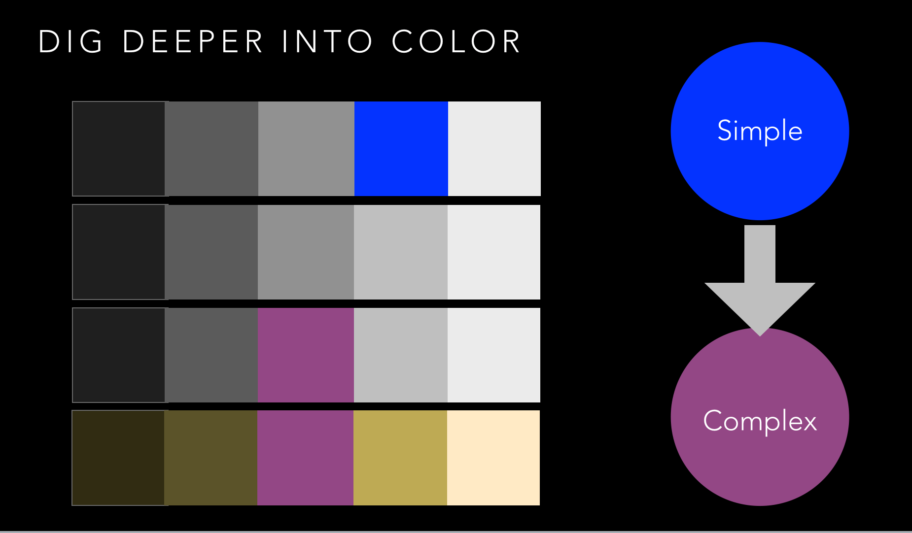 Color palettes using simple and complex colors