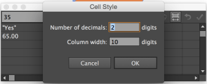 cell style and decimals