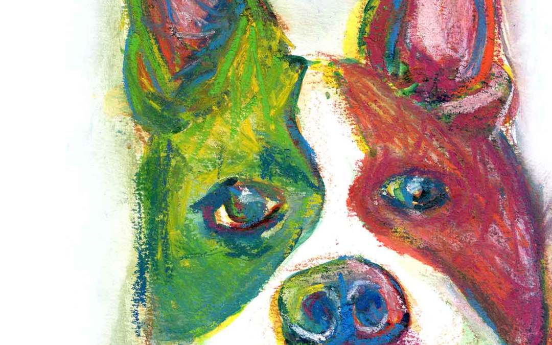 Dog Portraits: Colorful Boston Terrier using Derwent Inktense Blocks and Watercolor on 140 lb Paper