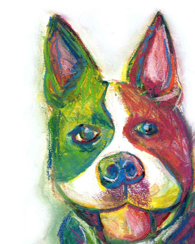 Boston Terrier dog portrait with rainbow colors but mostly green and purple using watercolor and inktense block art sticks