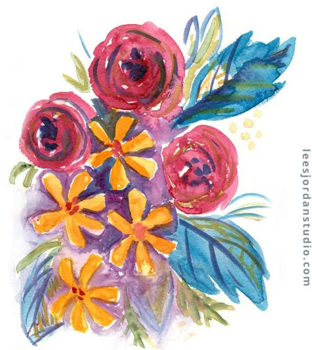 abstract floral bouquet of roses, yellow asters and blue leaves