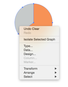 Pie chart showing the options menu in Illustrator