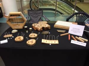 handmande wood and metal necklaces at the craft fair