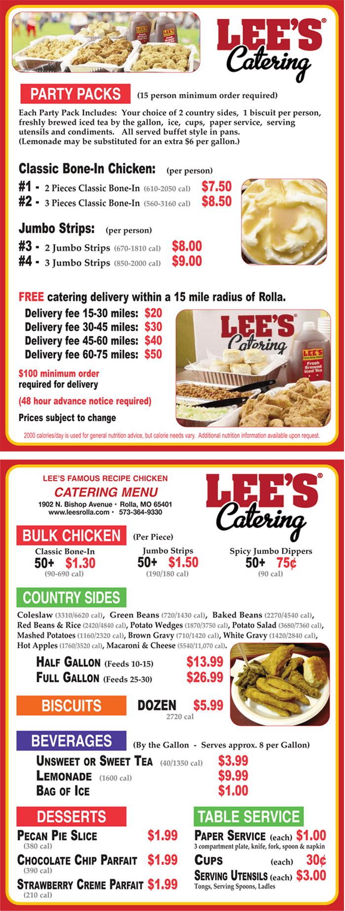 Click Here To Use Our Online Catering Request Form.