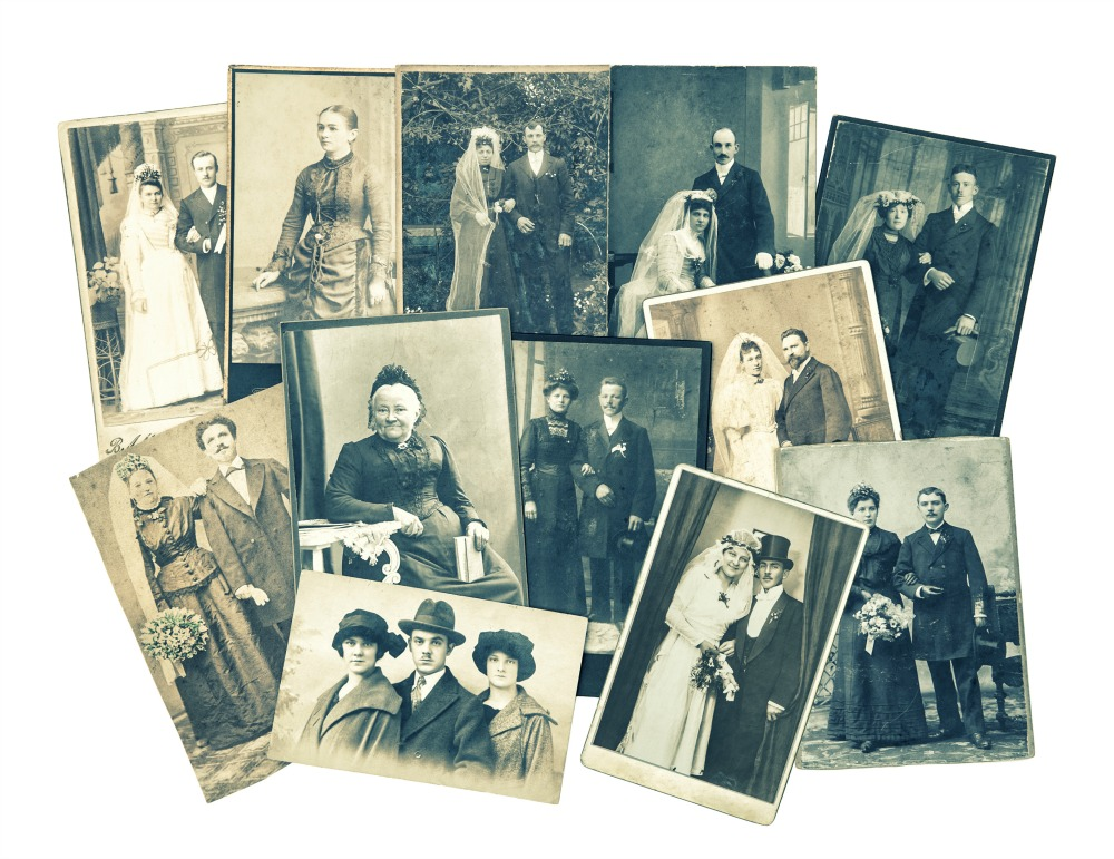 collage family pictures from the 1920s