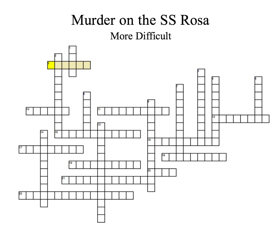 Murder on the SS Rosa Crossword puzzle