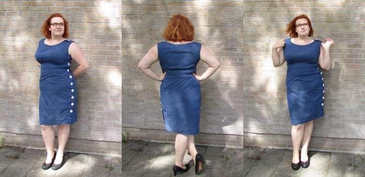 LeesVoer Refashion Victims blauwe jurk