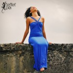 Robe longue Uma - Bleu Roi - L'effet Péi Réunion