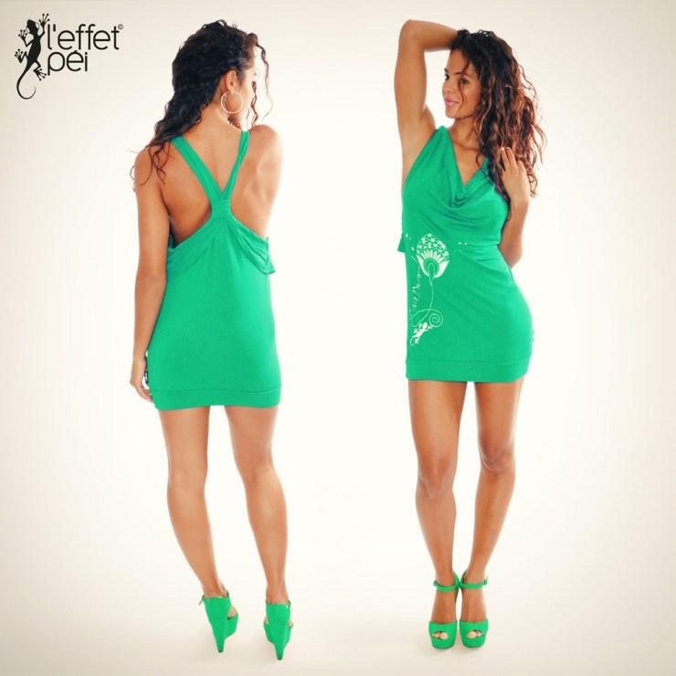 Robe mini Gaia - Vert