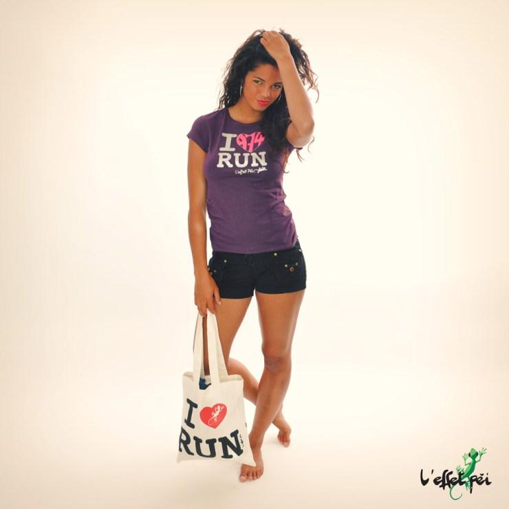 T-shirt femme I Love Run Cœur 974 - Sac I Love Run