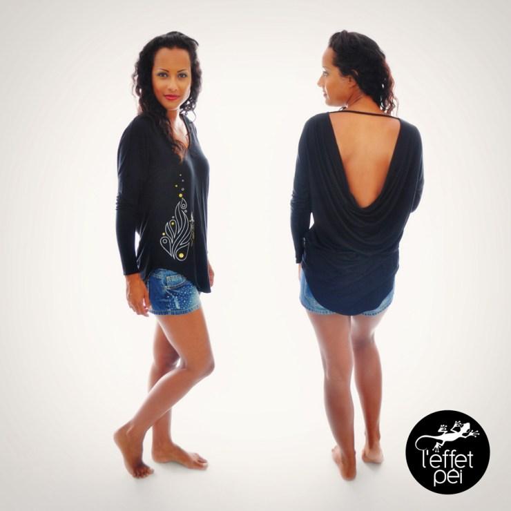 Top manches longues Diana - Dos nu noir - Short jeans Strass