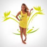 Top Carmen - dos nageur - Collection So Fresh - Fleur Oiseau de Paradis Jaune