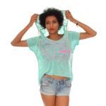 T-shirt femme Capuche Hip 974- Vert