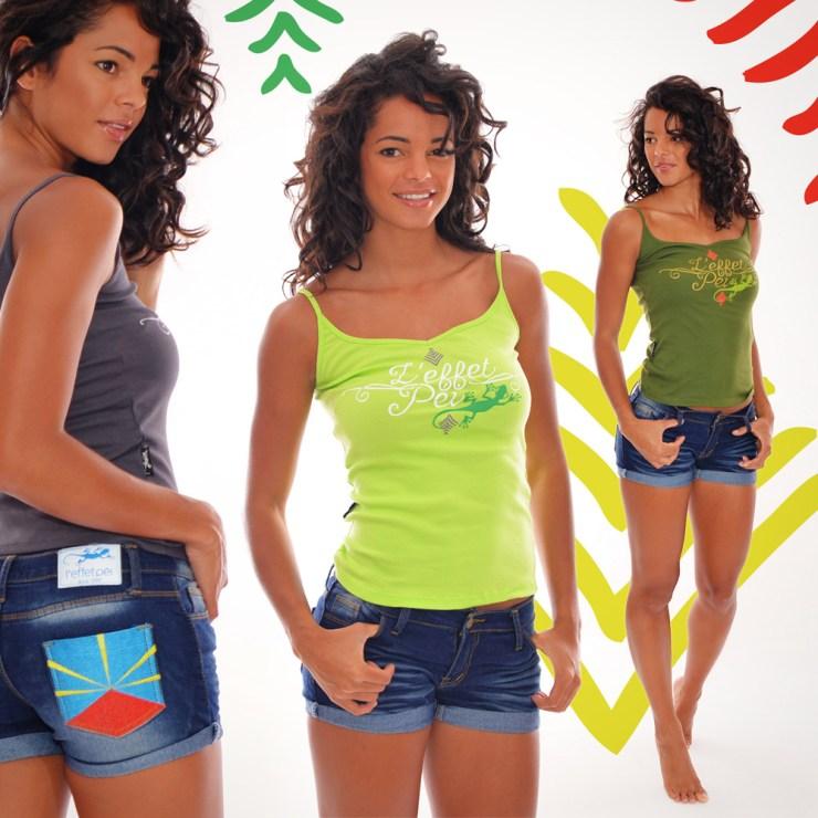 Top Séraphine et short jeans femme - Drapeau de la Réunion