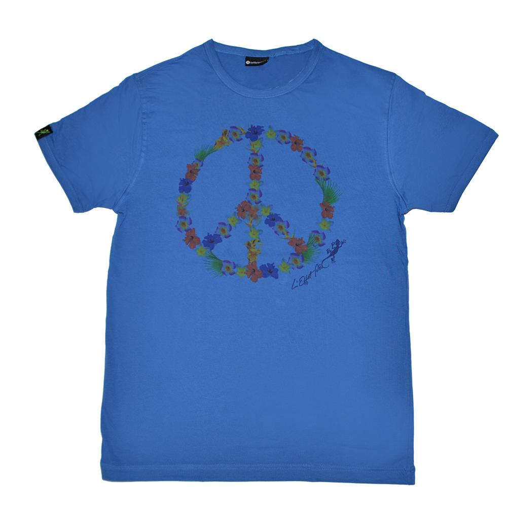 t shirt peace love fleurs homme bleu l 39 effet p i mode in r union. Black Bedroom Furniture Sets. Home Design Ideas