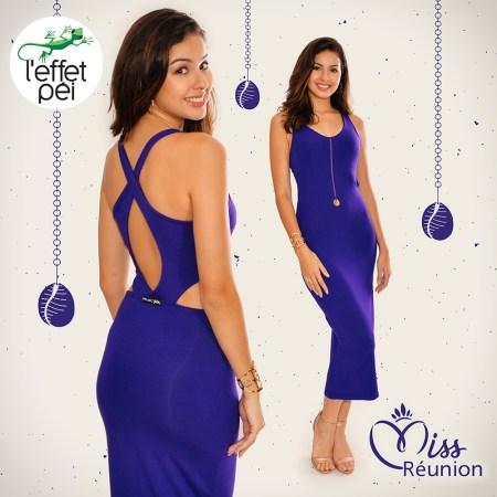 Ambre Nguyen - Miss Réunion - Robe longue Croisette - dos nu