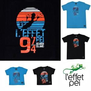 T-shirt BG Jack Homme et Enfant - Bleu et Noir - Coucher de Soleil - île de la Réunion 974