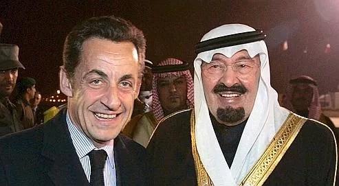Nicolas Sarkozy et le roi Abdallah lors d'une visite officielle président de la République à Riyad en janvier 2008.
