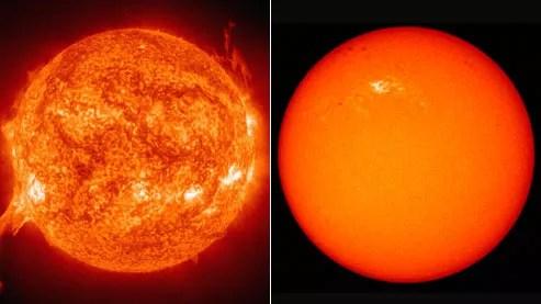 Le Soleil en forte activit�, � gauche, en juillet 2002. � droite, une image prise le 11 janvier dernier : seules quelques taches sombres laissent pr�sager un �red�marrage� de notre astre.