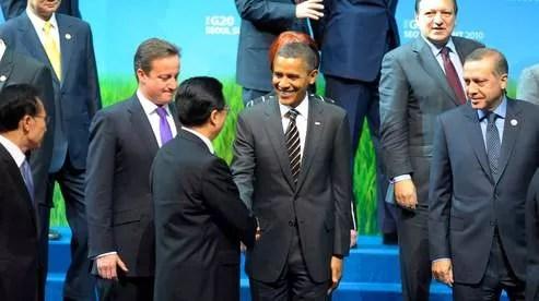 Barack Obama et le président chinois Hu Jintao à Séoul.