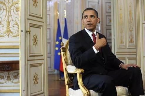 Barack Obama à la préfecture de Caen, le 6 juin 2009, lors des commémorations du 65e anniversaire du Débarquement en Normandie.