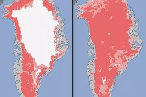 Les deux niveaux rosés indiquent la neige ayant fondu ou probablement fondu entre les 8 et 12 juillet 2012. Crédits photo: Nasa