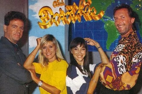 Jacky, Dorothée, Ariane et Corbier en 1991 (source: clubdo.free.fr)