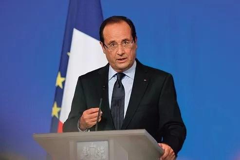 François Hollande pendant son discours lors de la Conférence des ambassadeurs de France, à l'Élysée fin août.