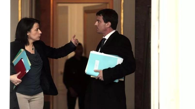Cécile Duflot et Manuel Valls à Matignon, en février dernier.