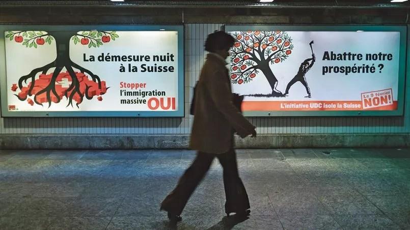 Affiches de campagne sur l'immigration en Suisse