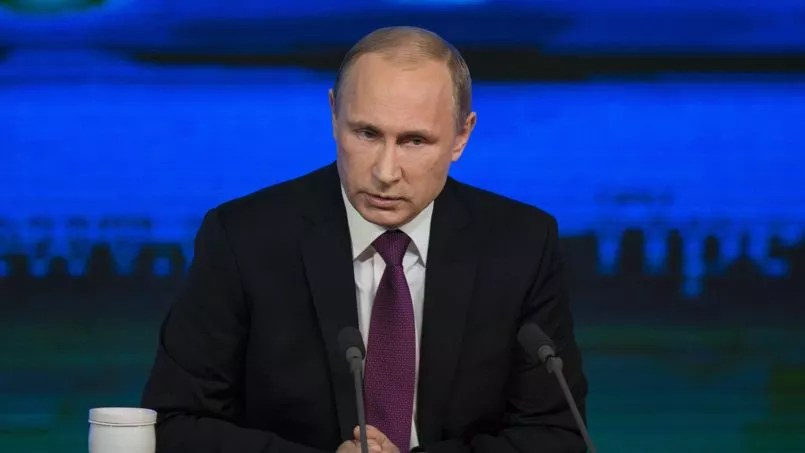 Vladimir Poutine, durant sa conférence de presse, à Moscou, le 18 décembre.