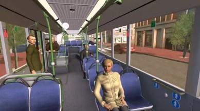 En enfilant le casque oculus, l'utilisateur est plongé dans trois situations de la vie quotidienne perçues avec les yeux d'un schizophrène. Ici, un déplacement en bus.