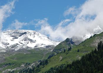 La Balme area of La Clusaz, France, covered with snow.