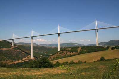 Wide angle Millau Bridge. Copyright Le Franco Phoney, based in La Clusaz, Haute Savoie, France.