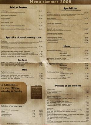 La Clusaz restaurant menu (French to English). Image copyright LeFrancoPhoney blog 2008.