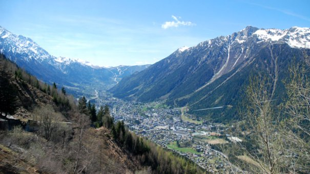 Chamonix town from above