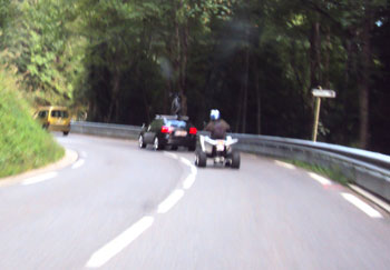 <Tailgating quadbike in the Aravis area of the French Alps>