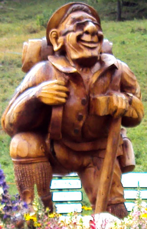Wood mountaineer close-up on roundabout in Meribel, France