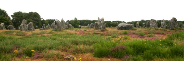 <Photo in the Carnac alignments - neolithic stones in Brittany, France>
