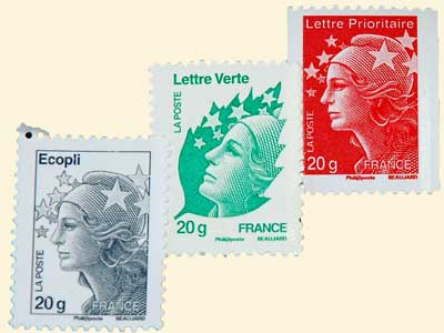 Photo of French stamps, copyright LeFrancoPhoney blog