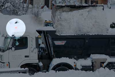 <Photo of the truck taking snow away in Saint Jean de Sixt, France>