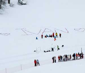 <Photo of art in the snow, dedicated to local French ski du fond champ, Ivan Perrillat Boiteux>