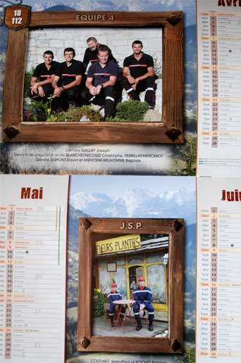 <Photo of the 2013 Saint Jean de Sixt firemen calendar>
