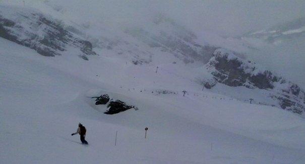 <Photo of powdery La Balme in La Clusaz at the end of the 2013 ski season >
