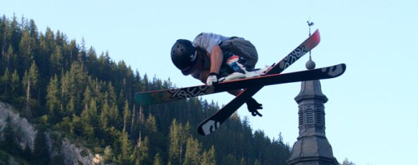 <Photo of a freestyle jumper in La Clusaz, summer 2013>