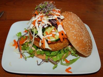 <Photo of a vegie burger at Le Chavinette, La Clusaz, France' data-recalc-dims=
