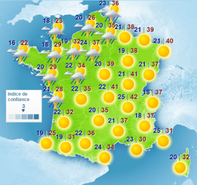 Heatwave temperatures in France 2015