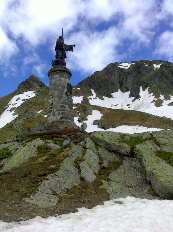 Statue of Saint Bernard at the Great Saint Bernard pass